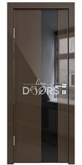 Дверь межкомнатная DO-504 Шоколад глянец/стекло Черное