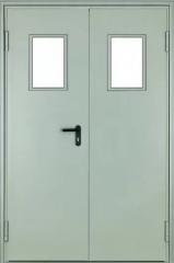 Противопожарные двери стальные ПДС двупольные глухие и со стеклом