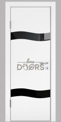 ШИ дверь DO-603 Белый бархат/стекло Черное