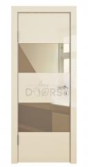 Дверь межкомнатная DO-508 Ваниль глянец/зеркало Бронза