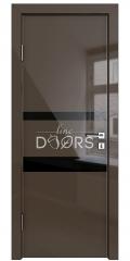 Дверь межкомнатная DO-512 Шоколад глянец/стекло Черное