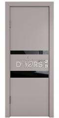 Дверь межкомнатная DO-512 Серый бархат/стекло Черное