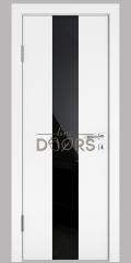 ШИ дверь DO-610 Белый бархат/стекло Черное