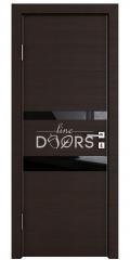 Дверь межкомнатная DO-512 Венге горизонтальный/стекло Черное