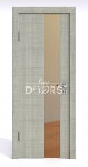 Дверь межкомнатная DO-504 Серый дуб/зеркало Бронза