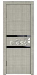 Дверь межкомнатная DO-513 Серый дуб/стекло Черное