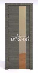 Дверь межкомнатная DO-504 Ольха темная/зеркало Бронза