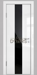 Дверь межкомнатная DO-510 Белый глянец/стекло Черное