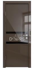 ШИ дверь DO-613 Шоколад глянец/стекло Черное