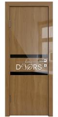 Дверь межкомнатная DO-513 Анегри темный/стекло Черное