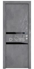 ШИ дверь DO-613 Бетон темный/стекло Черное