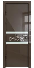 ШИ дверь DO-613 Шоколад глянец/стекло Белое