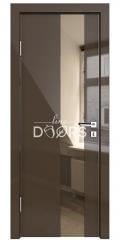 Дверь межкомнатная DO-504 Шоколад глянец/зеркало Бронза