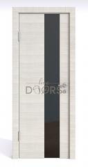Дверь межкомнатная DO-504 Ива светлая/стекло Черное