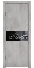 Дверь межкомнатная DO-501 Бетон светлый/стекло Черное
