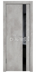 Дверь межкомнатная DO-507 Бетон светлый/стекло Черное
