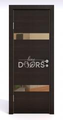 Дверь межкомнатная DO-502 Венге горизонтальный/зеркало Бронза