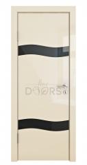 Дверь межкомнатная DO-503 Ваниль глянец/стекло Черное