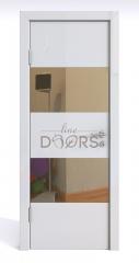 ШИ дверь DO-608 Белый глянец/зеркало Бронза