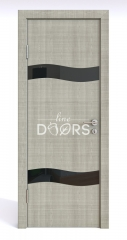 ШИ дверь DO-603 Серый дуб/стекло Черное