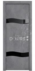 Дверь межкомнатная DO-503 Бетон темный/стекло Черное