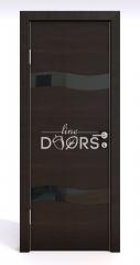 Дверь межкомнатная DO-503 Венге горизонтальный/стекло Черное