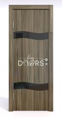 Дверь межкомнатная DO-503 Сосна глянец/стекло Черное