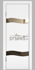 ШИ дверь DO-603 Белый бархат/зеркало Бронза
