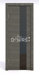 ШИ дверь DO-604 Ольха темная/стекло Черное