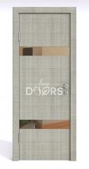 Дверь межкомнатная DO-502 Серый дуб/зеркало Бронза
