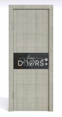 ШИ дверь DO-601 Серый дуб/стекло Черное