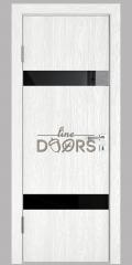 Дверь межкомнатная DO-502 Белый глубокий/стекло Черное