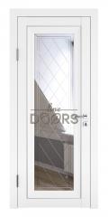 Дверь межкомнатная DO-PG6 Белый бархат/Зеркало ромб фацет