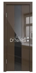 Дверь межкомнатная DO-510 Шоколад глянец/стекло Черное