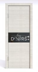 Дверь межкомнатная DO-501 Ива светлая/стекло Черное