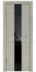 ШИ дверь DO-610 Серый дуб/стекло Черное