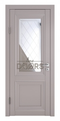 Дверь межкомнатная DO-PG2 Серый бархат/Зеркало ромб фацет