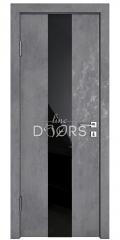 Дверь межкомнатная DO-510 Бетон темный/стекло Черное