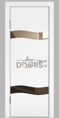 Дверь межкомнатная DO-503 Белый бархат/зеркало Бронза