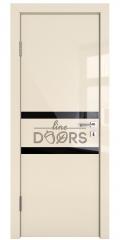 Дверь межкомнатная DO-513 Ваниль глянец/стекло Черное