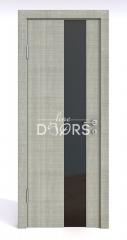 Дверь межкомнатная DO-504 Серый дуб/стекло Черное