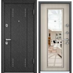 Дверь TOREX SUPER OMEGA 08 Черный шелк / Белый перламутр, зеркало