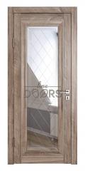 Дверь межкомнатная DO-PG6 Орех седой светлый/Зеркало ромб фацет