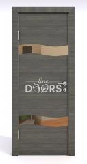 Дверь межкомнатная DO-503 Ольха темная/зеркало Бронза