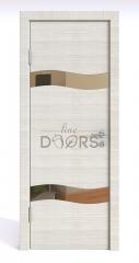 Дверь межкомнатная DO-503 Ива светлая/зеркало Бронза