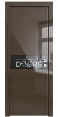 Дверь межкомнатная DO-509 Шоколад глянец/стекло Черное