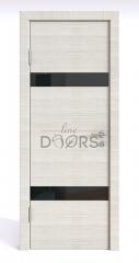 Дверь межкомнатная DO-502 Ива светлая/стекло Черное