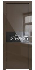 Дверь межкомнатная DO-501 Шоколад глянец/стекло Черное