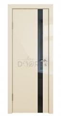 Дверь межкомнатная DO-507 Ваниль глянец/стекло Черное