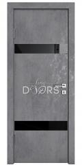 Дверь межкомнатная DO-502 Бетон темный/стекло Черное